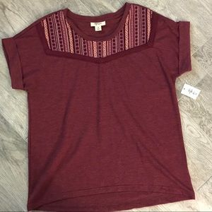 Style and Co. Maroon Embroidered Top